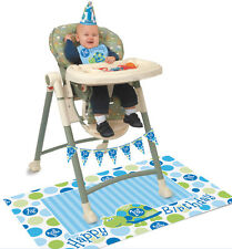 1st BIRTHDAY HIGH CHAIR TURTLE DECORATING KIT IN BLUE FOR BOY'S FIRST PARTY