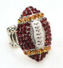 San Francisco Forty Niners Fan Red Gold Rhinestone Football Ring Girl Womens NFL