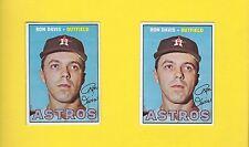 1967 Topps #298 (2X) RON DAVIS Houston Astros LIGHT BEHIND EAR Unlisted Error