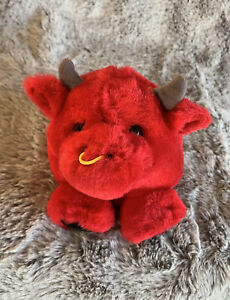 Bull Puffkins Collection Red Plush, Bull Soft Kids Toy Collectable Beanie