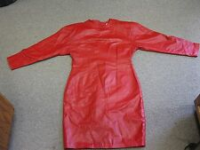 AMBRIA Red Leather Long Sleeve Dress Size 10
