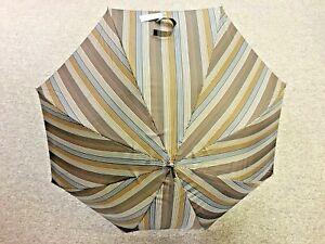 Gian Franco FERRE Milano Gray / Brown Stripe Umbrella - BRAND NEW
