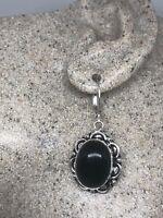 Vintage Black Onyx 925 Sterling Silver Earrings
