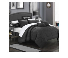 Chic Home Design Donna 7 Piece Comforter Set, Full / Queen Black NEW