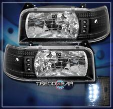 1992-1996 FORD F150 F250 F350 BRONCO LED CRYSTAL HEADLIGHTS BLACK 1993 1994 1995