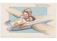 Mariapia cartolina d'epoca anni 40 bambino soldato aviatore aereo primo volo