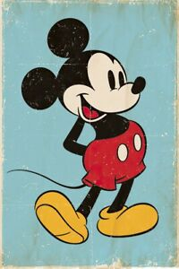 """Mickey Mouse - Disney Poster (Retro Mickey / Blue Background) (Size: 24"""" X 36"""")"""