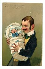 Birth Announcement-Man W/ Crying Baby-Pfb Comical Postcard Embossed/Father