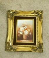 VINTAGE SIGNED & FRAMED ROBERT COX OIL ON WOOD BOARD FLORAL STILL LIFE PAINTING