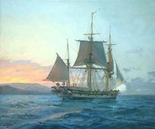 GEOFF HUNT HMS Beagle off the Galapagos Signed Ltd Edition on Paper Darwin