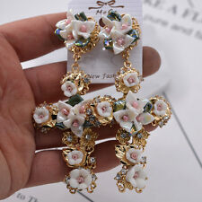 Fashion Womens Baroque Cross Earrings Wedding Party Flower  Eardrop Jewelry