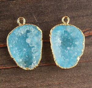 Best Aqua Geode Druzy Yellow Gold Plated DIY Single Bail Earring Pairs Connector