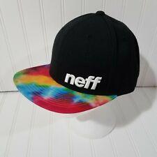 Neff Cap Baseball Flat Hat Black With Tie Dye Bill Snapback