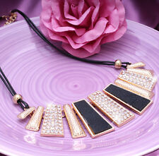 Fashion Sparkly Crystal Gold Chunky Statement Bib Necklace Choker For Women Lady