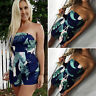 Womens Jumpsuit Summer Holiday Mini Beach Dress Tropical Floral Bandeau Tube Top