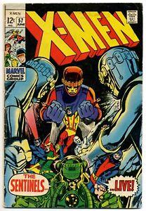 Uncanny X-Men #57 VG 4.0 (June 1969). Sentinels appear. Neal Adams art.