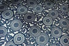 "Blue White Kiku Mums Vintage Japanese Kimono Jinken Silk Rayon Fabric 50"""