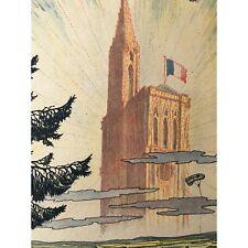 1918 Original French WWI War Bond Poster, Cathedral at Strasbourg, Aviation