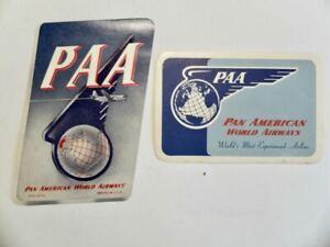 Vintage 2x Pan American World Airways  airline luggage label