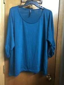 New Kristin Marie Womens Junior Plus Size 2X Turquoise Knit Top