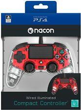 Mando con cable Nacon Compacto Rojo Cristal Luz para PS4 PC NUEVOd envio gratis