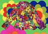 G172✪  buntes Herren Hippie Kostüm Prilblumen Sakko Jacke 70er Jahre Gr. 56