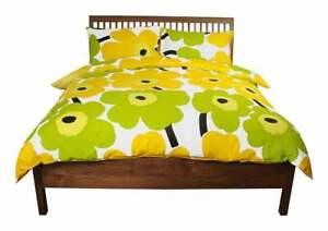 Marimekko Lime Unikko Bed Duvet Cover Floral Queen Size