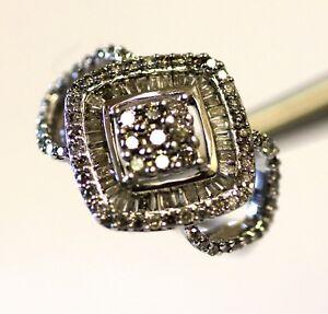 10k white gold 1.00ct carat SI2 H baguette fashion diamond cluster ring 5.2g 7