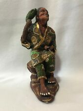Antique Japanese Satsuma Moriage High Relief Figurine of Sitting Man & His Frog