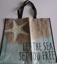 "Reusable Tote Bag 19"" x 17"" x 7""   LET THE SEA SET YOU FREE"