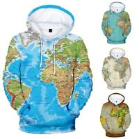 Womens Autumn Long Sleeve World Map Print Sweater Pocket Hooded Blouse Jacket