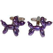 Purple Balloon Dog Cufflinks by Onyx Art - Gift Boxed - Fun Ladies Artist Humour