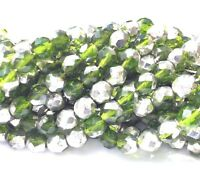 Trade Czech Firepolish Two Tone Forest Green & Silver 25 Bead Strand.
