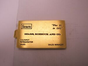 -Sears Roebuck & Co Sales Manager Business Card Vintage Tie Bar Clip craftsman