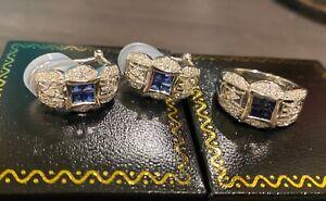 18Kt Blue Sapphire Diamond Ring & Earrings Jewelry Set