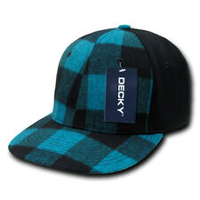 Teal / Black Lumberjack Plaid 6 PANEL FLEX FITTED HAT Cap vtg retro hunting NEW