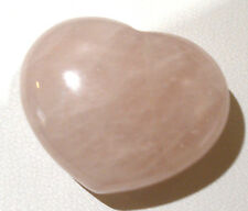 ROSE QUARTZ GEMSTONE PUFF LOVE HEART POCKET STONE PALMSTONE SIZE 35mm - 30mm