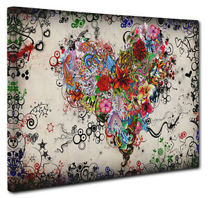 Floral Love Heart Picture Print Canvas Wall Art Size A1 51x76cm