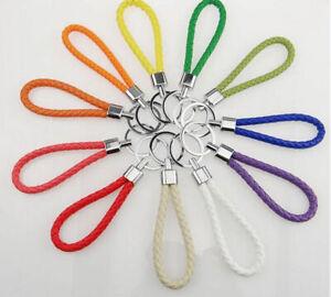 Braided Faux Leather Strap Keyring - Colour Car Key Chain Fob Lanyard Keychain