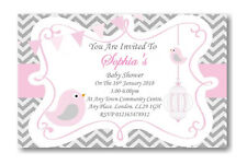 40 Personalised Baby Shower Invitations / Invites With Envelopes Pink grey Strip