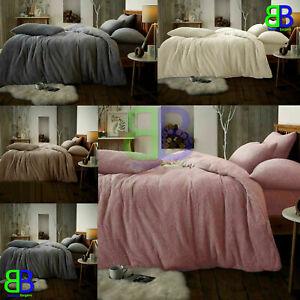 New Teddy Bear Fleece Duvet Cover Set Sherpa Thermal Warm Soft Bedding 5 Colours
