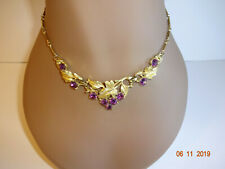 Vintage Coro Necklace Choker Purple Rhinestones Grapes Leaves Gold Tone Signed