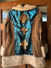 Burning man  Festival Jacket with Sequin Back Fur with Brown Suede Size L