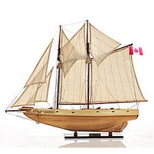 "Schooner Bluenose II Wooden Ship Model 29.5"" Sailboat Fully Built & Rigged Masts"