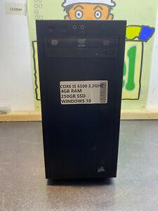 CUSTOM i5 6500 4GB RAM Windows 10 Tower PC DESKTOP READY TO USE 250GB SSD HDMI 8