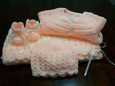 NEW Handmade Crochet Baby Blanket Afghan set ( peach ) Newborn