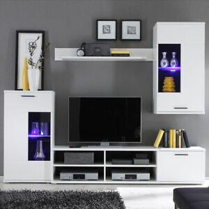 Wohnwand Wandboard Mediawand Anbauwand Frontal Wohnzimmer weiß LED