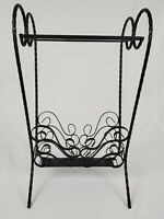Mid-Century French Wrought Iron Glass Top Patio Table Magazine Rack Vintage