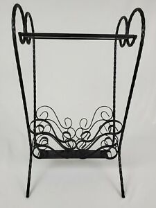 Mid-Century Iron Table Twisted Heart Glass Top With Magazine Rack French Vintage