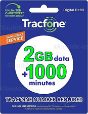 Tracfone Smartphone Plan 2GB DATA +1000 Minutes Quick Email Delivery Trusted USA